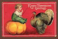 1909 ELLEN CLAPSADDLE*HEARTY THANKSGIVING GREETINGS*EMBOSSED*TURKEY*PUMPKIN