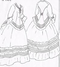 1850s dress ebay 1860 Dresses and Gowns 18 antique french fashion lady doll 1850 s afternoon dress underwear pattern