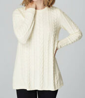 J JILL Chenille Ivory Comfort Soft Cozy Cable Knit Pullover Sweater Tunic Medium