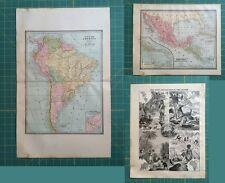 South Central America Globe - Rare Original 1885 Antique Crams World Atlas Maps
