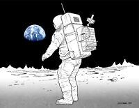 NASA 1972 Apollo Moon Mission Landing Lunar Comms Concept Art Print Poster Space