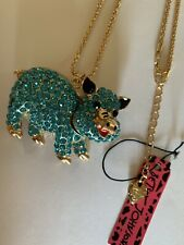 Crystal Blue Pig Rhinestone MOVABLE PARTS Betsey Johnson Chain Necklace-BJ50003