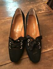 Vintage 1960s Mr Seymour Black Satin Rhinestone Tie Pumps Shoes 6.5