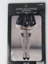 """Halloween Knee High Socks 28.35"""" x 3.94"""" White with Skull One size fits most"""