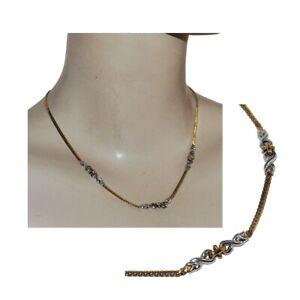 Collier plaqué or 18 carats maille anglaise finition argentée bijou