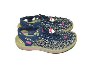 Keen 6.5 Blue Uneek Sandals Round Toe Woven Cord Shoes Flats EU 37 Womens Summer
