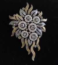 Vintage Crown Trifari gold silver tone smoky clear rhinestone brooch ribbons