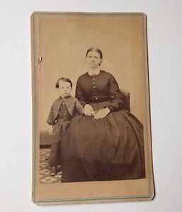 Antique Photo CDV Gibson PA Woman and Boy G O Sweet Blue Border Line