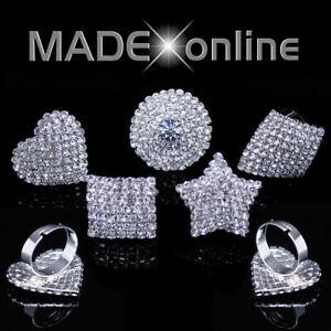 Bling Dress Rings Adjustable  Diamante Ring, Heart, Square, Round, Star, Diamond