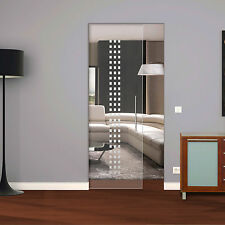 "Glass Single sliding Pocket Door System  full set design ""Small Squares"" 740 mm"