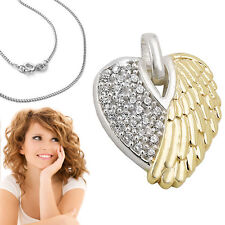 Engelflügel Anhänger Engels Flügel Zirkonia Herz mit Kette Echt Silber 925