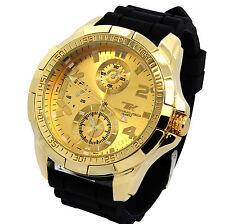 Mens Techno King Gold Metal Case Black Silicone Band Fashion Quartz Wrist watch