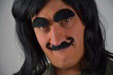 Men's Black Curl-up Self Adhesive Fancy Dress Moustache & Eyebrow Set. Uk Disp