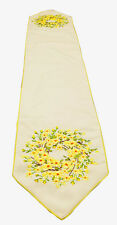 Embrodered Daisy Wreath Table Runner 13x72 inches by Melrose