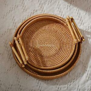 Rattan Hand-Woven Basket Serving Tray with Handles Coffee Table Home Decor