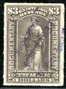 USA Revenue Stamp $3 DOCUMENTARY Used 1899 {samwells-covers}ORANGE339