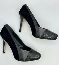 New Women's White House Black Market, Black And Grey Suede Croc Heels, Size 8M