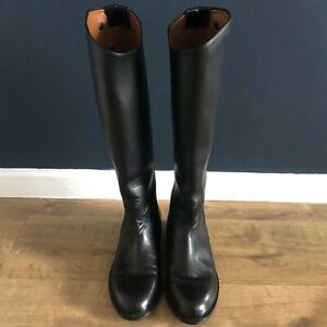 Tacto Long Leather Horse Riding Boots Size UK 7R Women's Black Zip Up Handmade