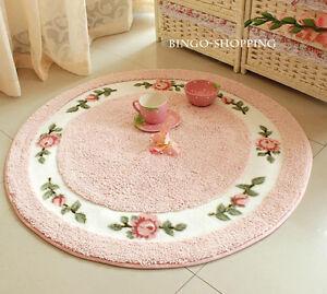 Charming Floor Mat Rug Carpet Pink Round Country Rose Flower Carpet Style M