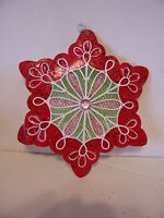 7 INCH METAL RED WHITE GREEN GINGERBREAD COOKIE ORNAMENT CHRISTMAS DECORATION