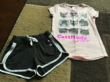 Girls justice Catitude short sleeve tee shorts outfit size 6/7(Guc)