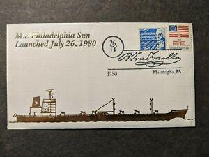 Ship M/V PHILADELPHIA SUN Naval Cover 1980 GOLD Launch Cachet