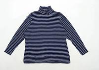 Marks & Spencer Womens Size 20 Striped Cotton Blend Blue Top (Regular)