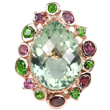 17.95 CT. REAL AMETHYST CHROME DIOPSIDE RHODOLITE STERLING 925 SILVER RING 6.75
