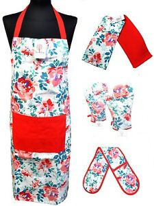 100% Cotton Apron Oven Mitt Gloves Tea Towels Cooking BBQ Coral XMAS Gift Sets