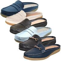 Ladies Slip on Leather Sliders Loafer Moccasins Mules Shoes