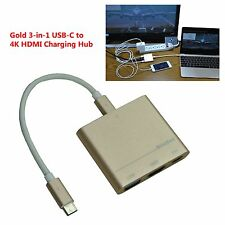Gold 3-in-1 USB-C to 4K HDMI charging hub for Windows PC MacBook & Galaxy S8