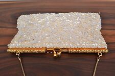 Exquisite vintage 1950s Intricately beaded and sequinned cream evening bag