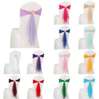 10pcs Spandex Stretch Chair Cover Sash Bow with Flower Wedding Banquet Reception