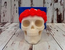 """Skull with wreath"" silicone mold for soap candles making halloween"