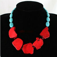 New Fashion Red Turquoise Slice Handmade Princess Necklace Woman Gift Party