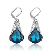 Blue Sapphire Gem Feather Drop Dangle Engagement Wedding Earrings Jewelry Gifts