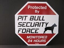 Sign: Protected By Pit Bull Security Force Monitored 24 Hours