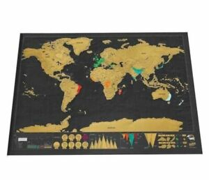 Carte du Monde à Gratter !! Pour le Bureau ou la Maison Idéale pour Voyages