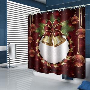 Christmas Bell Bathroom Rug Set Shower Curtain Thick Bath Mat Toilet Lid Cover
