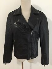 Aviatrix Vintage Leather Motorcycle Jacket Black Women's Size 12