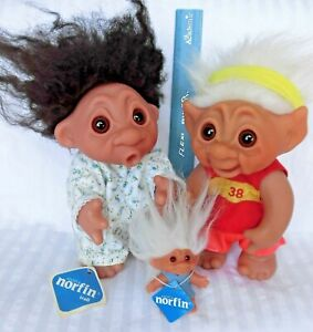 "1977 DAM NORFIN troll dolls 8"" HEATHER in nitie Runner Guy MADE IN DENMARK + kid"