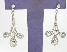 Well Made Estate 2.50 ctw. Diamond Drop Earrings Solid 18k White Gold 8.4 gram