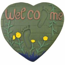 Heart & Foot Prints Welcome Plaque Cast Iron Stepping Stone Yard & Garden Decor