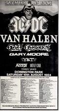 21/7/84pg53 Monsters Of Rock Concert Advert 10x5 Ac/dc, Van Halen, Ozzy Osbourne