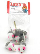 Rabbit Fur Mouse with Rattle - 5 Pak