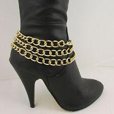 À la Mode pour Femmes Bottes Chaîne Bracelet 3 Gold Métal Épais Brins