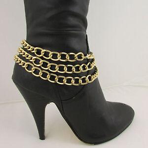 Women Fashion Boot Chain Bracelet 3 Gold Metal Chunky Strands Shoe Strap Charm