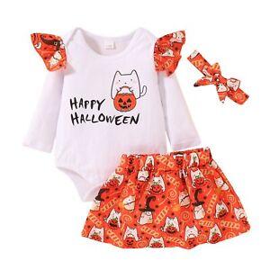 3PCS My First Halloween Skirt Set Ruffle Romper +Pumpkin Tutu Skirt Outfit