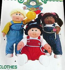 """Cabbage Patch Kids doll clothes pattern Boy Girl overalls romper 16"""" w/ transfer"""