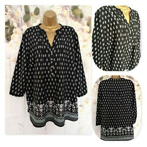 NEW GEORGE TOP Size 18 , 3/4 Sleeve Black Floral Tunic Top